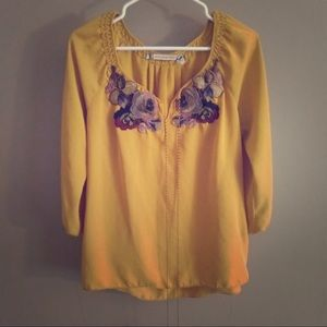 Mustard Yellow Boho Blouse with Floral Embroidery